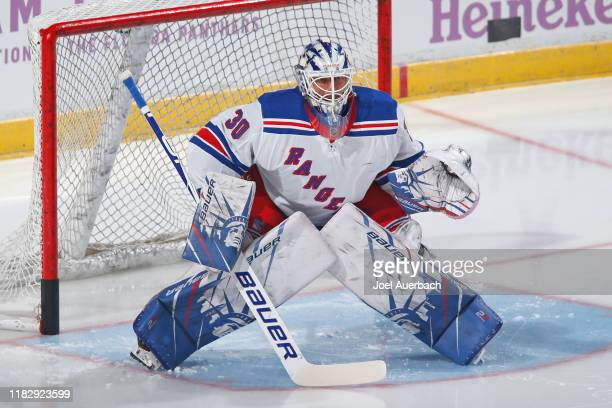 Goaltender Henrik Lundqvist of the New York Rangers warms up prior to the game against the Florida Panthers at the BBT Center on November 16 2019 in...