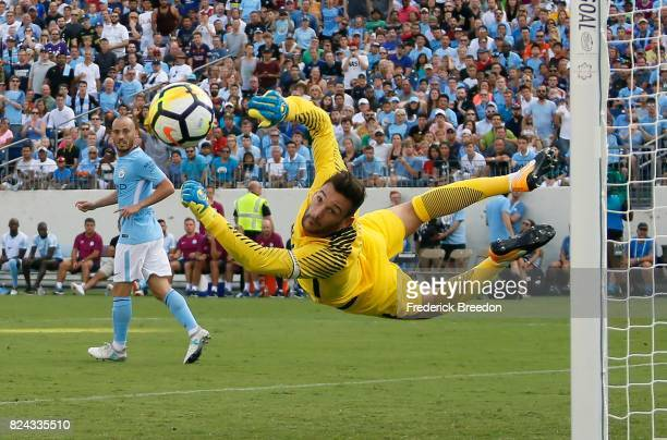 Goaltender Hugo Lloris of Tottenham dives to make a save against Manchester City during the first half of the 2017 International Champions Cup...