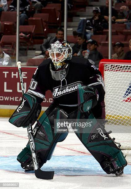 Goaltender Ilya Bryzgalov of the Anaheim Mighty Ducks watches the puck against the Phoenix Coyotes during the first period of their NHL game on...
