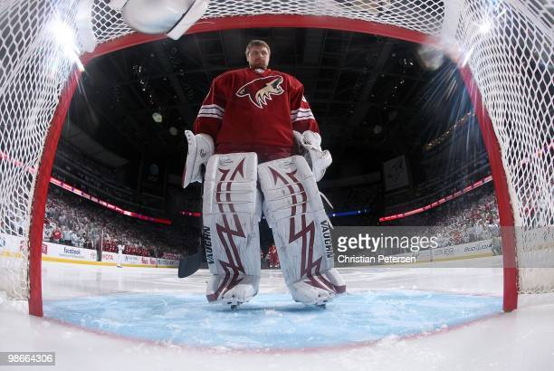 Goaltender Ilya Bryzgalov of the Phoenix Coyotes before Game Five of the Western Conference Quarterfinals against the Detroit Red Wings during the...