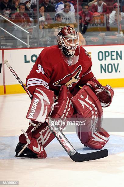 Goaltender Ilya Bryzgalov of the Phoenix Coyotes gets ready to make a save against the Columbus Blue Jackets on October 11 2009 at Jobingcom Arena in...