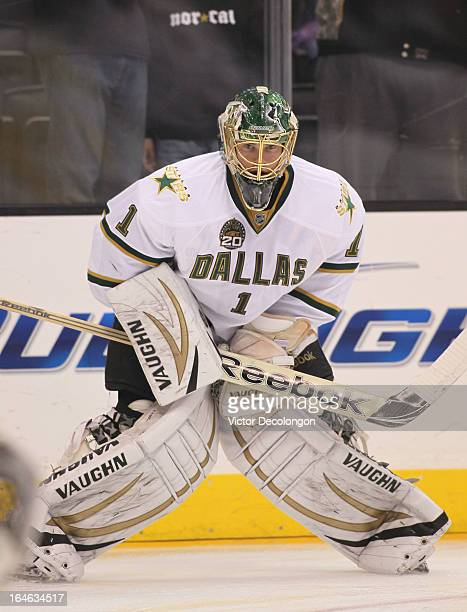 Goaltender Jack Campbell of the Dallas Stars looks on during warm-up prior to the NHL game against the Los Angeles Kings at Staples Center on March...