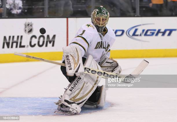 Goaltender Jack Campbell of the Dallas Stars makes a blocker save during warm-up prior to the NHL game against the Los Angeles Kings at Staples...