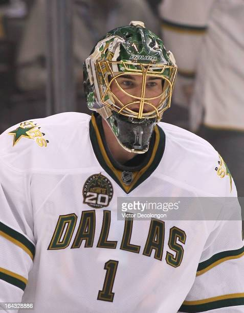 Goaltender Jack Campbell of the Dallas Stars skates during warm-up prior to the NHL game against the Los Angeles Kings at Staples Center on March 21,...