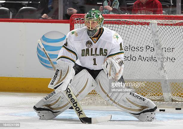 Goaltender Jack Campbell of the Dallas Stars skates prior to the game against the Colorado Avalanche at the Pepsi Center on March 20, 2013 in Denver,...