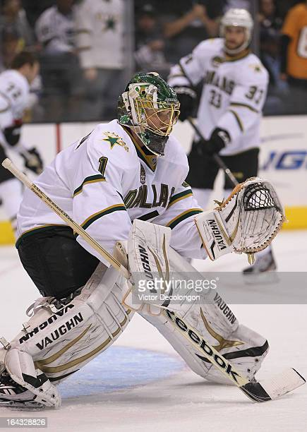 Goaltender Jack Campbell of the Dallas Stars warms up prior to the NHL game against the Los Angeles Kings at Staples Center on March 21, 2013 in Los...