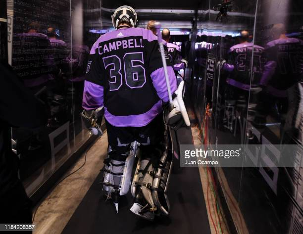 Goaltender Jack Campbell of the Los Angeles Kings takes the ice for warm-up before the game against the Arizona Coyotes at STAPLES Center on November...