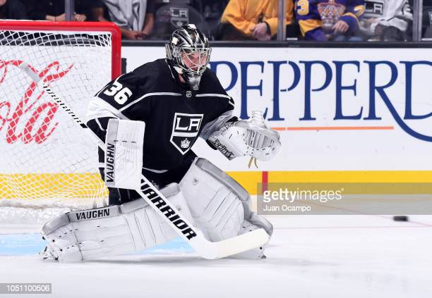 Goaltender Jack Campbell of the Los Angeles Kings tends net during warmup before the game against the Detroit Red Wings at STAPLES Center on October...