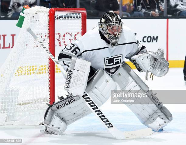 Goaltender Jack Campbell of the Los Angeles Kings tends net during the second period of the game against the Anaheim Ducks at STAPLES Center on...