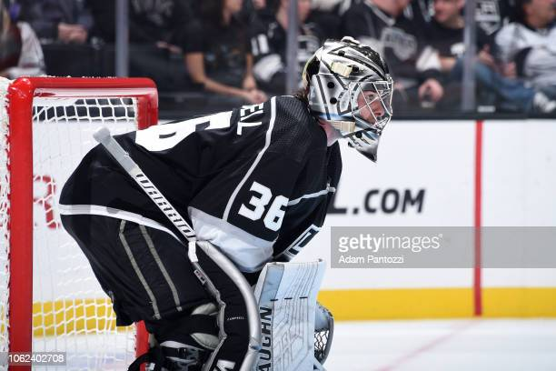 Goaltender Jack Campbell of the Los Angeles Kings tends net during the second period of the game against the Philadelphia Flyers at STAPLES Center on...
