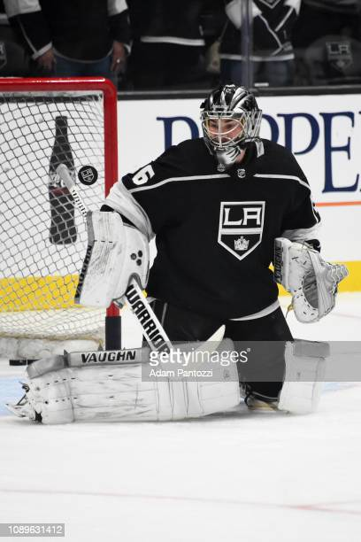 Goaltender Jack Campbell of the Los Angeles Kings tends net during warmup before the game against the Tampa Bay Lightning at STAPLES Center on...