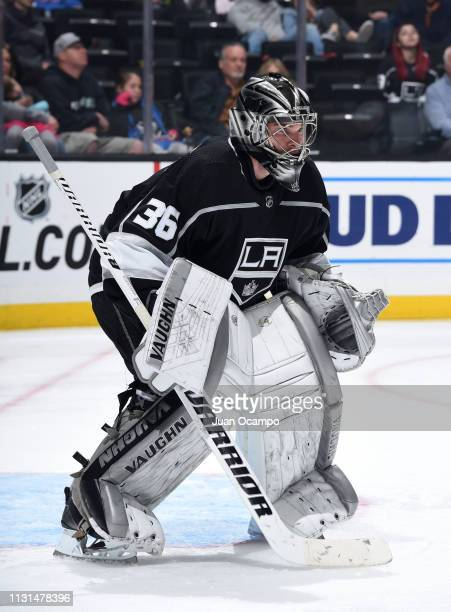 Goaltender Jack Campbell of the Los Angeles Kings tends net during the second period of the game against the Winnipeg Jets at STAPLES Center on March...
