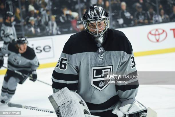 Goaltender Jack Campbell of the Los Angeles Kings watches warmup before the game against the Edmonton Oilers at STAPLES Center on January 5 2019 in...