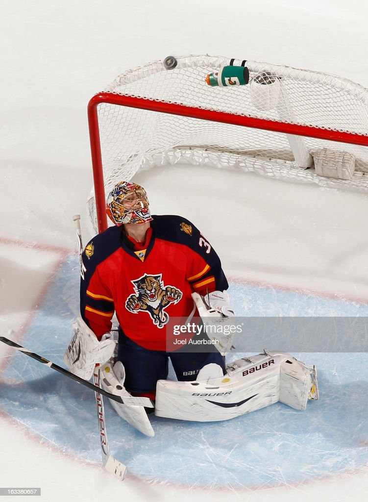 Goaltender Jacob Markstrom #35 of the Florida Panthers looks up at the rebound of a shot by the Winnipeg Jets at the BB&T Center on March 8, 2013 in Sunrise, Florida.