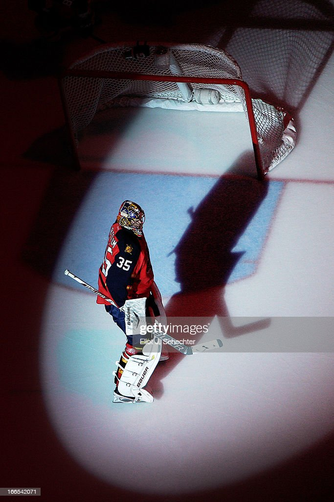 Goaltender Jacob Markstrom #35 of the Florida Panthers skates on the ice prior to the start of the game against the Pittsburgh Penguins at the BB&T Center on April 13, 2013 in Sunrise, Florida.