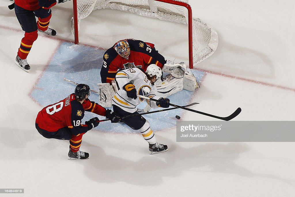 Goaltender Jacob Markstrom #35 of the Florida Panthers stops a shot by Tyler Ennis #63 of the Buffalo Sabres at the BB&T Center on March 28, 2013 in Sunrise, Florida. The Panthers defeated the Sabres 5-4 in a shoot out.