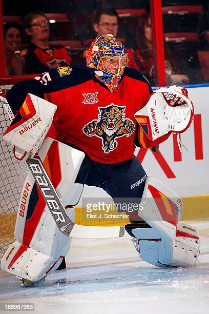 Goaltender Jacob Markstrom of the Florida Panthers warms up on the ice prior to the start of the game against the St Louis Blues at the BBT Center on...