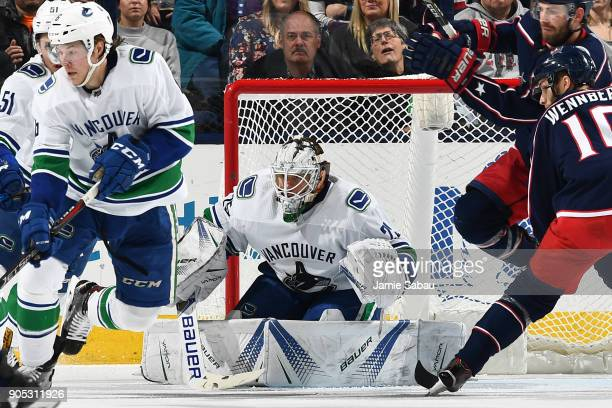 Goaltender Jacob Markstrom of the Vancouver Canucks defends the net against the Columbus Blue Jackets on January 12 2018 at Nationwide Arena in...