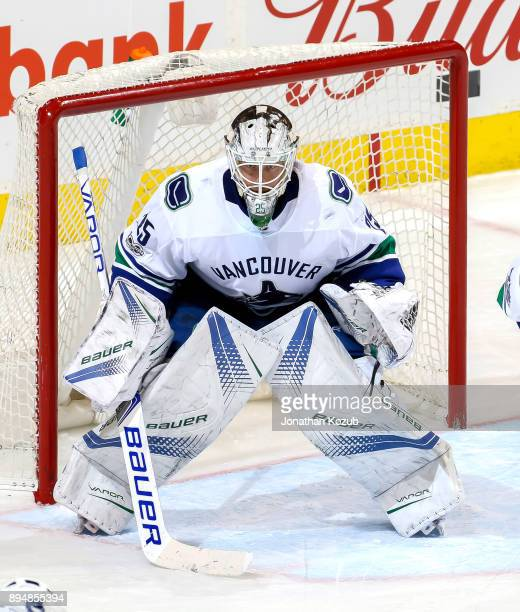 Goaltender Jacob Markstrom of the Vancouver Canucks guards the net during third period action against the Winnipeg Jets at the Bell MTS Place on...