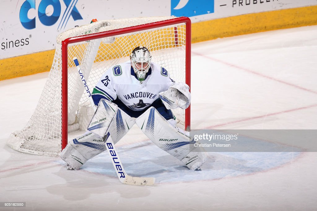 Goaltender Jacob Markstrom #25 of the Vancouver Canucks in action during the NHL game against the Arizona Coyotes at Gila River Arena on February 25, 2018 in Glendale, Arizona. The Canucks defeated the Coyotes 3-1