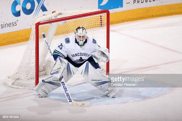 Goaltender Jacob Markstrom of the Vancouver Canucks in action during the NHL game against the Arizona Coyotes at Gila River Arena on February 25 2018...