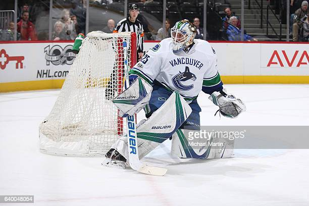 Goaltender Jacob Markstrom of the Vancouver Canucks stands ready against the Colorado Avalanche at the Pepsi Center on January 25 2017 in Denver...