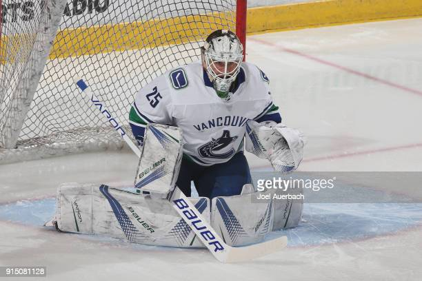 Goaltender Jacob Markstrom of the Vancouver Canucks warms up prior to the game against the Florida Panthers at the BBT Center on February 6 2018 in...