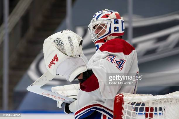 Goaltender Jake Allen of the Montreal Canadiens looks on during the game against the Edmonton Oilers at Rogers Place on January 18, 2021 in Edmonton,...