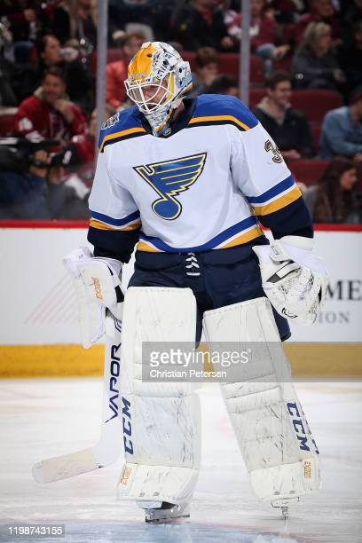 Goaltender Jake Allen of the St. Louis Blues during the NHL game against the Arizona Coyotes at Gila River Arena on December 31, 2019 in Glendale,...