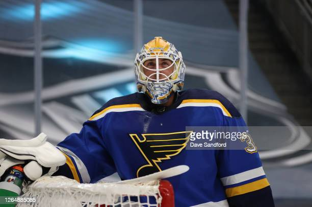 Goaltender Jake Allen of the St. Louis Blues looks on during the first period of a Round Robin game between the Dallas Stars and the St. Louis Blues...