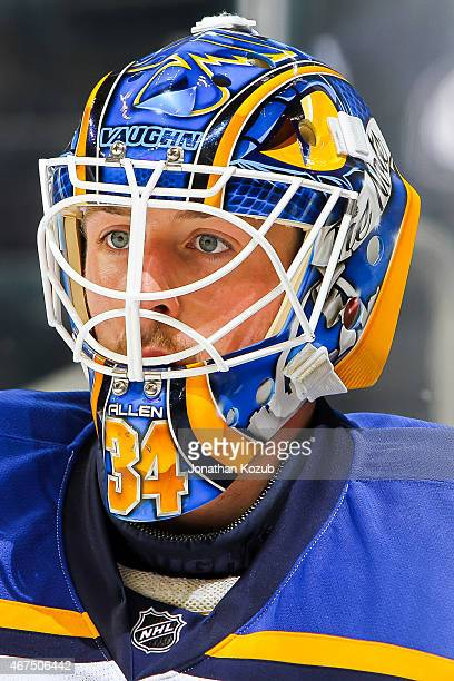 Goaltender Jake Allen of the St Louis Blues looks on during the pregame warm up prior to NHL action against the Winnipeg Jets on March 19 2015 at the...