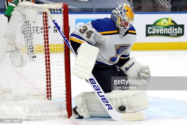 Goaltender Jake Allen of the St. Louis Blues makes a save against the Vancouver Canucks during the third period of Game Three of the Western...