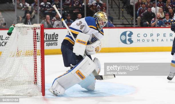 Goaltender Jake Allen of the St Louis Blues makes a save against the Colorado Avalanche at the Pepsi Center on April 7 2018 in Denver Colorado The...