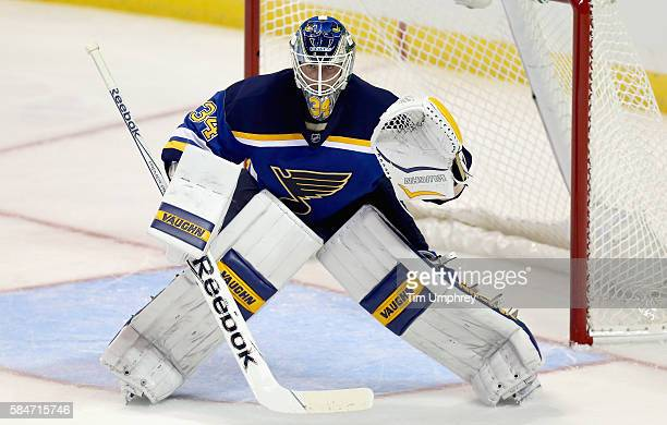 Goaltender Jake Allen of the St Louis Blues plays in the game against the Tampa Bay Lightning at the Scottrade Center on October 27 2015 in St Louis...