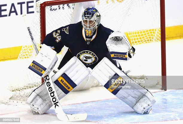 Goaltender Jake Allen of the St Louis Blues plays in the game the Detroit Red Wings at the Scottrade Center on November 21 2015 in St Louis Missouri