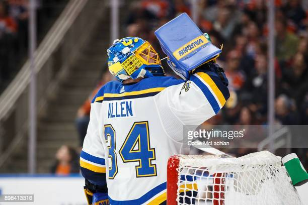 Goaltender Jake Allen of the St Louis Blues skates against the Edmonton Oilers at Rogers Place on December 21 2017 in Edmonton Canada