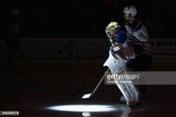 Goaltender Jake Allen of the St Louis Blues skates on the ice before the NHL game against the Arizona Coyotes at Gila River Arena on March 31 2018 in...