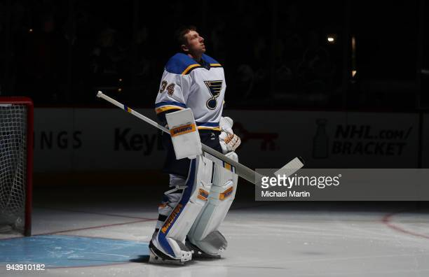Goaltender Jake Allen of the St Louis Blues stands in net prior to the game against the Colorado Avalanche at the Pepsi Center on April 7 2018 in...