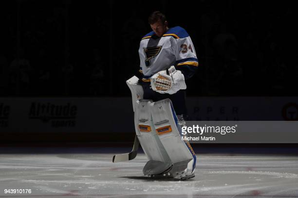 Goaltender Jake Allen of the St Louis Blues stands prior to the game against the Colorado Avalanche at the Pepsi Center on April 7 2018 in Denver...