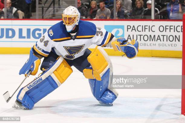 Goaltender Jake Allen of the St Louis Blues stands ready against the Colorado Avalanche at the Pepsi Center on March 5 2017 in Denver Colorado