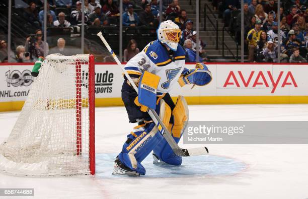 Goaltender Jake Allen of the St Louis Blues stands ready against the Colorado Avalanche at the Pepsi Center on March 21 2017 in Denver Colorado The...