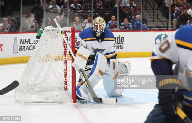 Goaltender Jake Allen of the St Louis Blues stands ready against the Colorado Avalanche at the Pepsi Center on April 7 2018 in Denver Colorado The...