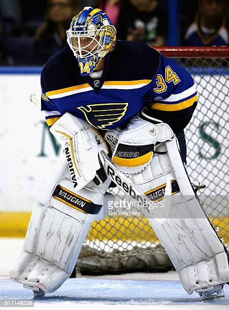 Goaltender Jake Allen of the St Louis Blues warms up before the game against the Chicago Blackhawks at the Scottrade Center on October 25 2014 in St...