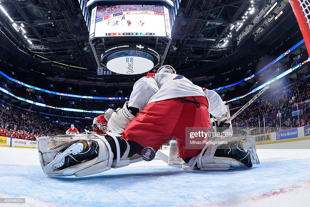Goaltender Jakub Skarek #2 of Team Czech Republic allows an overtime goal during the IIHF World Junior Championship preliminary round game against Team Switzerland at the Bell Centre on December 27, 2016 in Montreal, Quebec, Canada. Team Switzerland defeated Team Czech Republic 4-3 in overtime.