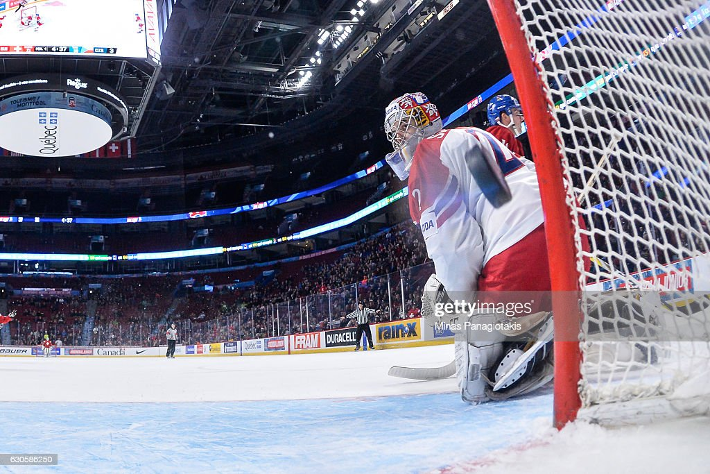 Goaltender Jakub Skarek #2 of Team Czech Republic watches the puck enter his net in overtime during the IIHF World Junior Championship preliminary round game against Team Switzerland at the Bell Centre on December 27, 2016 in Montreal, Quebec, Canada. Team Switzerland defeated Team Czech Republic 4-3 in overtime.