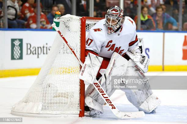 Goaltender James Reimer of the Carolina Hurricanes protects the net against the Florida Panthers during the third period at BBT Center on October 08...