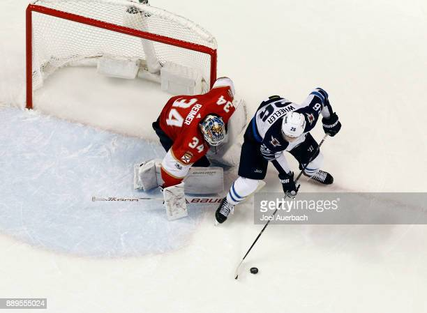 Goaltender James Reimer of the Florida Panthers defends the goal against Blake Wheeler of the Winnipeg Jets during third period action at the BBT...