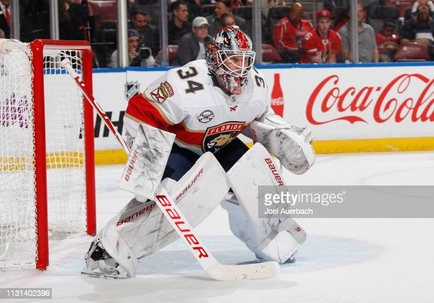 Goaltender James Reimer of the Florida Panthers defends the net against the Carolina Hurricanes at the BBT Center on February 21 2019 in Sunrise...