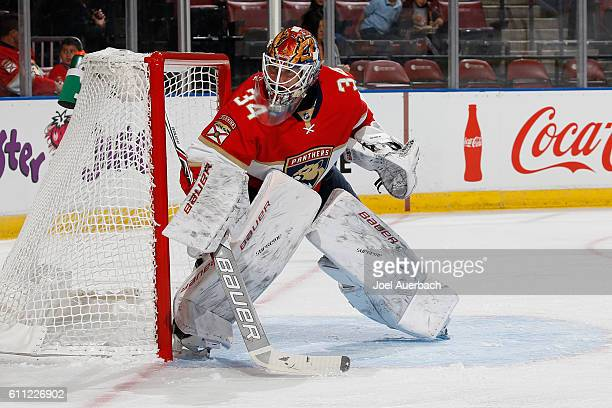 Goaltender James Reimer of the Florida Panthers defends the net against the Nashville Predators during a preseason game at the BBT Center on...