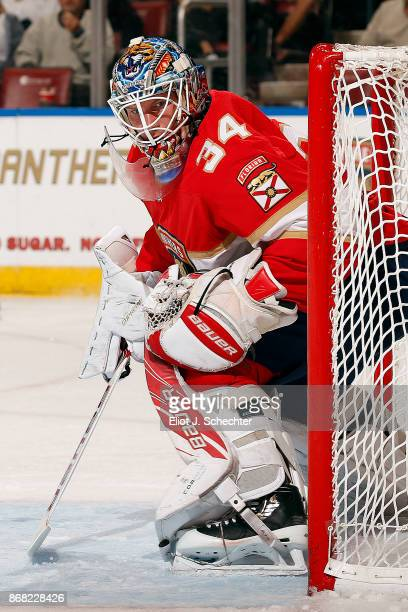 Goaltender James Reimer of the Florida Panthers defends the net against the Detroit Red Wings at the BBT Center on October 28 2017 in Sunrise Florida
